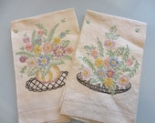 Vintage Embroidered Tea Towels