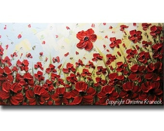 CUSTOM Art Abstract Painting Red Poppy Flowers Large Art Acrylic Painting Wall Decor Textured Palette Knife MADE to ORDER Christine Krainock