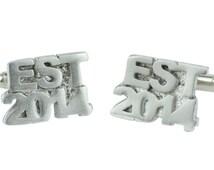 Established 2014 2nd Wedding Anniversary Cuff links - EST 2014 - Handmade & Unique Cufflinks for 2 Year Gift