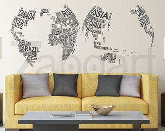 Text World Map Globe Wall Decal