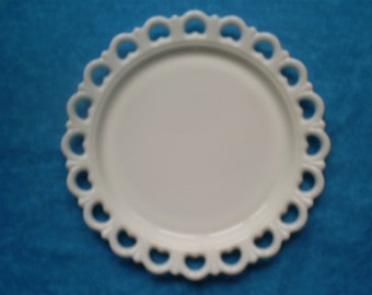 SALE  and Free Shipping. Vintage Milk Glass Cake Plate.