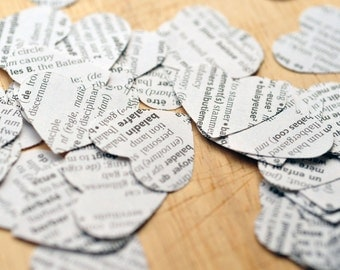 French/English Dictionary Paper Heart //Confetti // Wedding Decoration // Embellishment // Scrapbooking // Smash Journal // Party Decoration