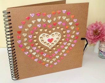 "Rustic Photo Album / Rustic Scrapbook / Wedding Photo Album - Personalised Large 12 x 12"" Pink & Gold Love Hearts, Gift for Her / Women"