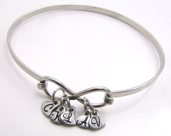Infinity Bracelet - Personalized Bracelet - Hand Stamped Jewelry - Bangle Bracelet Personalized Initial Personalized Bracelet for Mom (103)