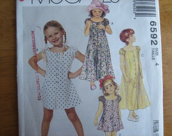 McCALL'S Pattern 6592 Children's Jumpsuit, Romper and Dress in Two Lengths    1993     Uncut