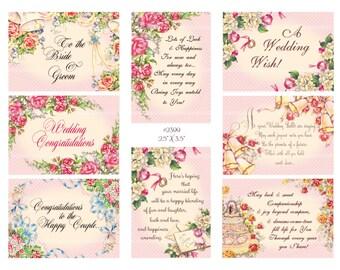 Digital collage, instant download, Vintage Wedding Images, roses, ribbons, bells, flowers, greetings--8.5 by 11--Digital Collage Sheet 2399