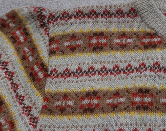 Fine lightweight acrylic wool mix fairisle 80s M