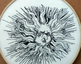 Sun embroidery hoop. Woodcut vintage style. Occult.Folklore. Nature. 7 inch.