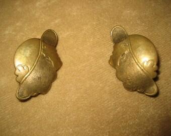 Brass Earrings Womans Silhouette Pierced Vintage