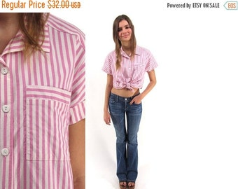 On Sale - Vintage 80s Stripe Shirt, Knit, Cotton Top, Pink Stripe Blouse, Candy Striped Top, Button Up, Collared Top Δ size: xs / sm