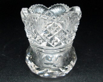 EAPG toothpick pressed glass with the cut glass look ,  i think the pattern is WESTMORELAND Diamond Fan 1912