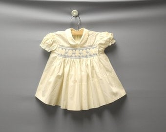 Vintage Baby Clothes, 1950's Cream and Blue Baby Girl Dress, Vintage Baby Dress, Cream Baby Dress, Cotton Baby Dress, Size 6 Months