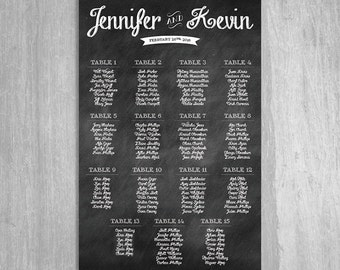 Chalkboard Wedding Seating Chart - Digital File  - Choose Any Size Needed - By Table Number or Alphabetically