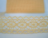 "5 yards Yellow Delicate Lace Trim 3/4""-Wide, Crochet lace trim, Cotton Trims, Wide Lace, yellow lace, yellow trim, yellow lace trim, yellow"