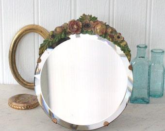 Vintage Barbola Mirror, Floral Round Dressing Table Mirror, 1930's