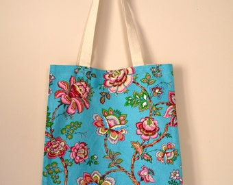 French Tote Bag Super Lightweight Summer Bag Beach Bag French Bag Kashmir Inspiration Turquoise