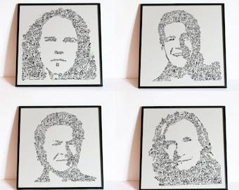 The Eagles - Set of 4 Prints (limited edition) - Don Henley / Glen Frey / Joe Walsh / Timothy B Schmit - intricate doodle portrait