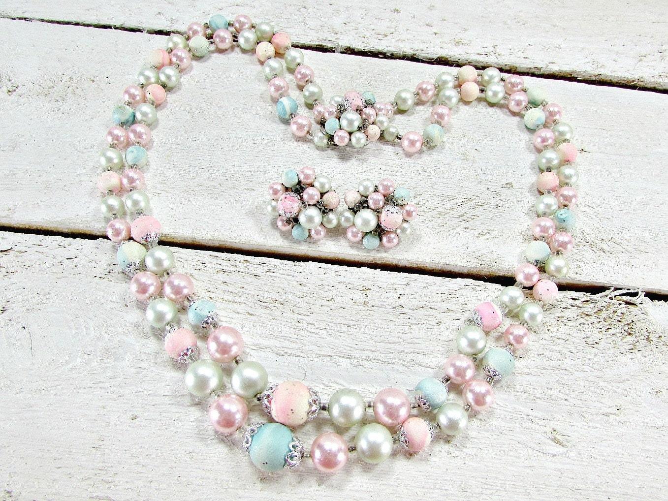 vintage japanese beaded necklace earrings set blue mint pink