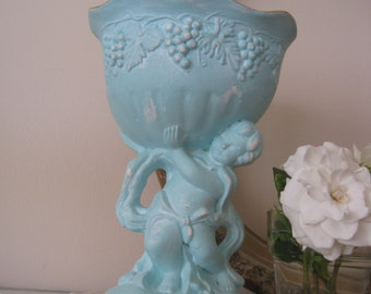 Vintage Shabby Chic Small Cherub Pedestal Bowl Distressed in Aqua