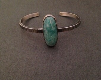 Sterling silver and Amazonite cuff bracelet