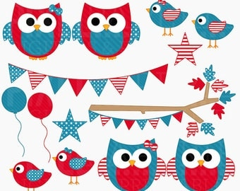 4th of july clipart owls birds clip art american america - 4th of July Hoots and Tweets Digital Clipart