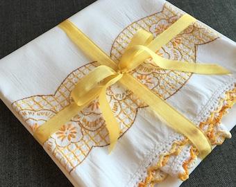 Vintage Pillow Case with Yellow Needlework 1180