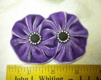 Elegant Velvet Double Rosette Cocarde Ribbon Flowers