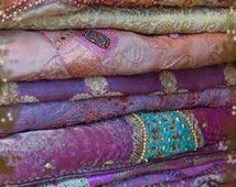 One and a half kilo ,set of 4 Wholesale lot,recycled/upcycled sari fabric for Nuno felting/theme wedding fabric/Bollywood parties