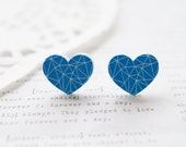 Wooden Blue and White Geometric Loveheart Stud Earrings