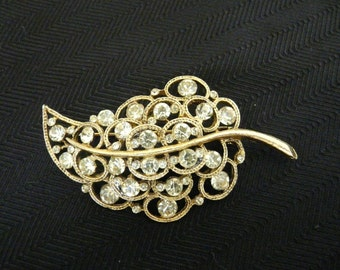 Goldtone Leaf Pin with Pale Green Rhinestones
