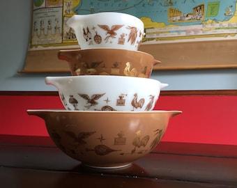 Vintage Pyrex Americana Cinderella Nesting Bowls  4 Piece Set Pyrex Cinderella Brown Gold White Vintage Americana Retro Kitchen