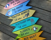 Personalized Wooden Signs, Set of 6 Custom Signs, Beach Signs, Destination Signs, Location Signs, Arrows, Yard Art, Yard Decoration