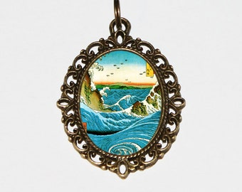 Navaro Rapids Necklace, Ocean Waves Jewelry, Japanese, Sea Wave, Ukiyo-e, Ando Hiroshige, Bronze Oval Pendant