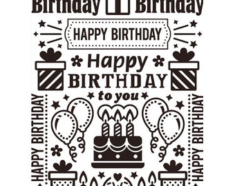 HAPPY BIRTHDAY COLLAGE Embossing Folder by Darice Size A2