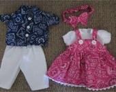 "Twin Baby Doll Set Pink Navy Blue Girls & Boy Bandanna Print Shirt , Boys  Pants, Girls Jumper, Headband Fits Bitty Baby or 15"" Baby Doll"