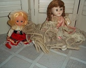 2 dolls Vintage Southern Belle crinoline complete w handmade outfit plus hat girl...Reduced..Was 8.88