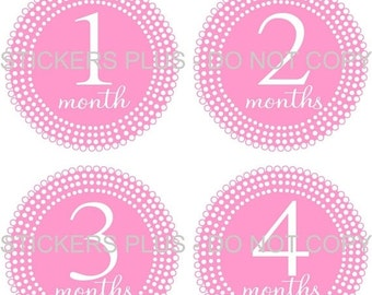 SALE Baby Month Stickers Plus FREE Gift PRECUT Baby Stickers Baby Girl Monthly Age Stickers  - Lots Of Dots All Pink - 1-12 Months