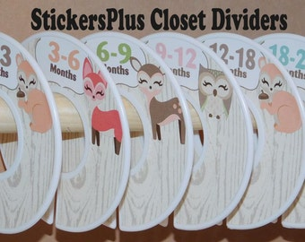 Baby Closet Dividers Organizers Assembled or PreCut DIY Woodland Animals Deer Squirrel Fox Owl Baby Girl Clothes Size Dividers Shower Gift