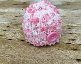 Hand Knit Newborn Hat, Soft Pixie Beanie Hat in Pink, Newborn Photography Prop, Newborn Hat, Hand Knit, Ready To Ship, CLEARANCE