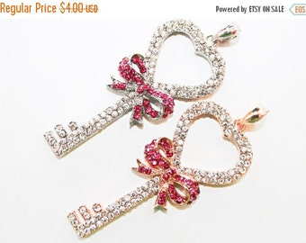 10% off SALE Rhinestone Skeleton Key Pendant with Heart Top 33mmx 75mm Jewelry Findings