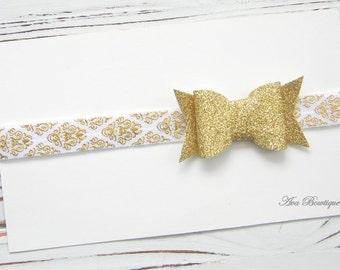 Gold Glitter Bow Headband, Glitter Bow Headband, Baby Bow Headband, Bow Headband, Gold Glitter Headband