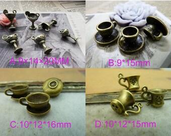 10pcs Antique Bronze 3D Smaller Cup Charm Pendant  teacups Juice cup charm necklace fitting