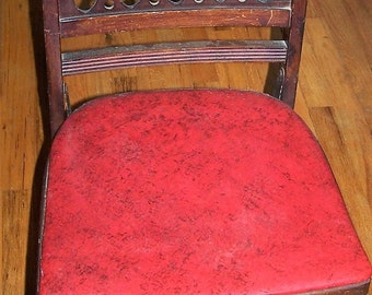Vintage Wooden Folding Chair With Red Vinyl Seat