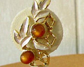 vintage 50s amber moonglow enameled leaf earrning clip on signed Judy Lee