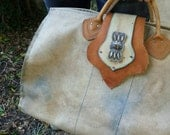 Duffle Bag Carryall Travel Tote Aged Canvas/Leather/Sterling