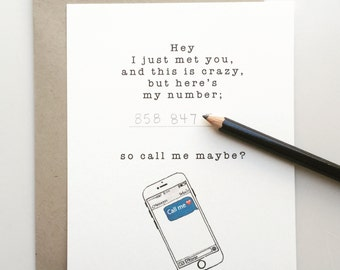 Valentine's Day card Call Me Maybe -  - Valentine's Handmade - Paper Goods - Funny Valentine