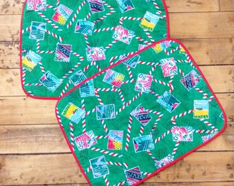 French 1970s Colorful Padded Placemats - Lot of 2 - Globe Trotter Stamps Theme - MADE IN FRANCE - New