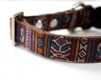 Brown Bohemian BOHO Dog Collar
