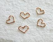 Rose Gold Dipped Petite Love Heart Pendant Connectors