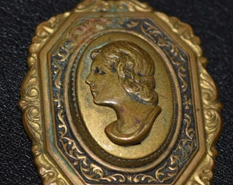 """Vintage Brass or Bronze Bust Cameo Pendant~ 1 3/8"""" Height"""